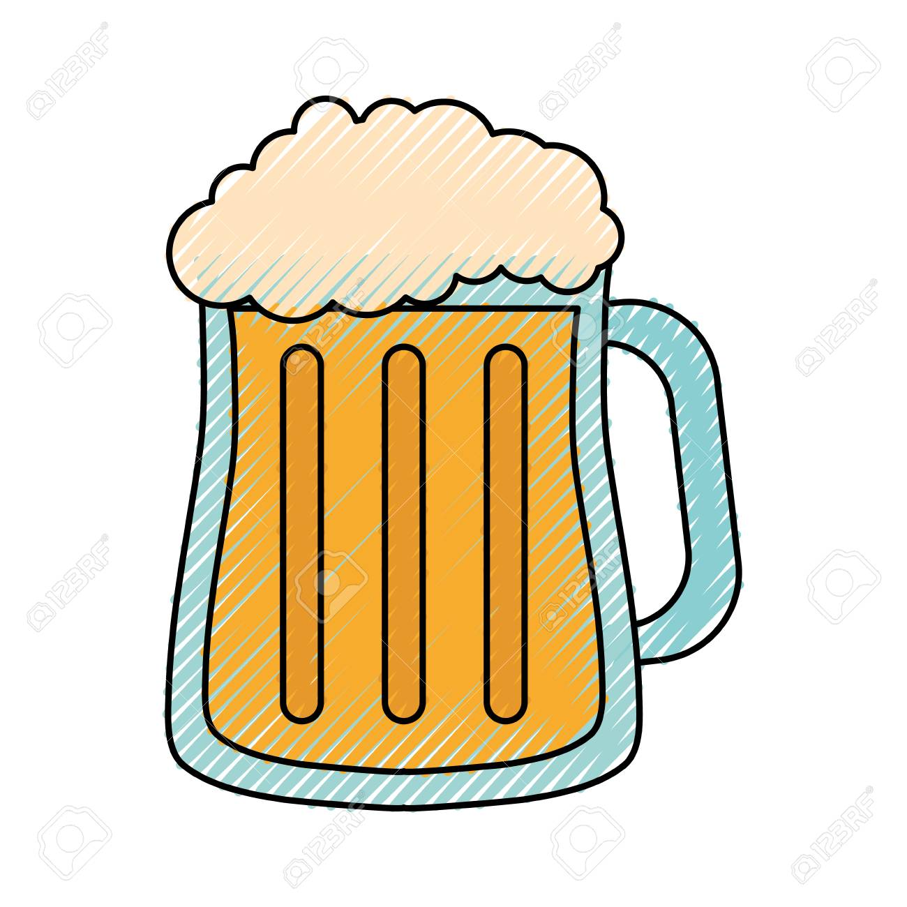 Colored Beer Glass Doodle Over White Background Vector Illustration Royalty Free Cliparts Vectors And Stock Illustration Image 94573320