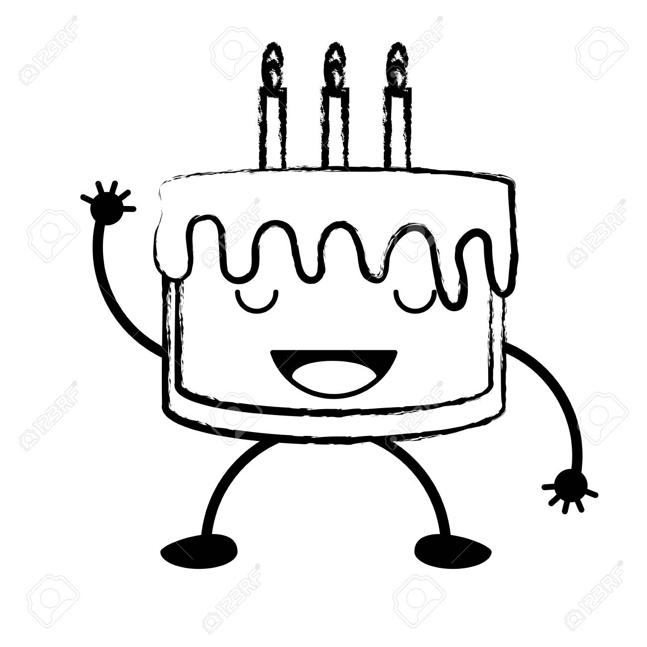 Sketch Of Birthday Cake Showing The Tongue Over White Background
