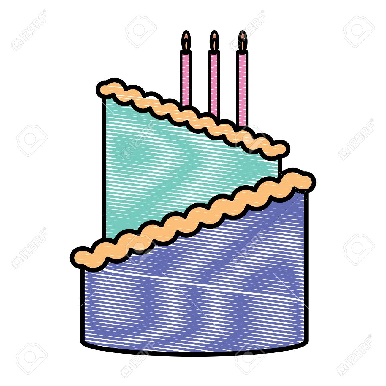 Birthday Cake With Candles Over White Background Colorful Design Vector Illustration Stock