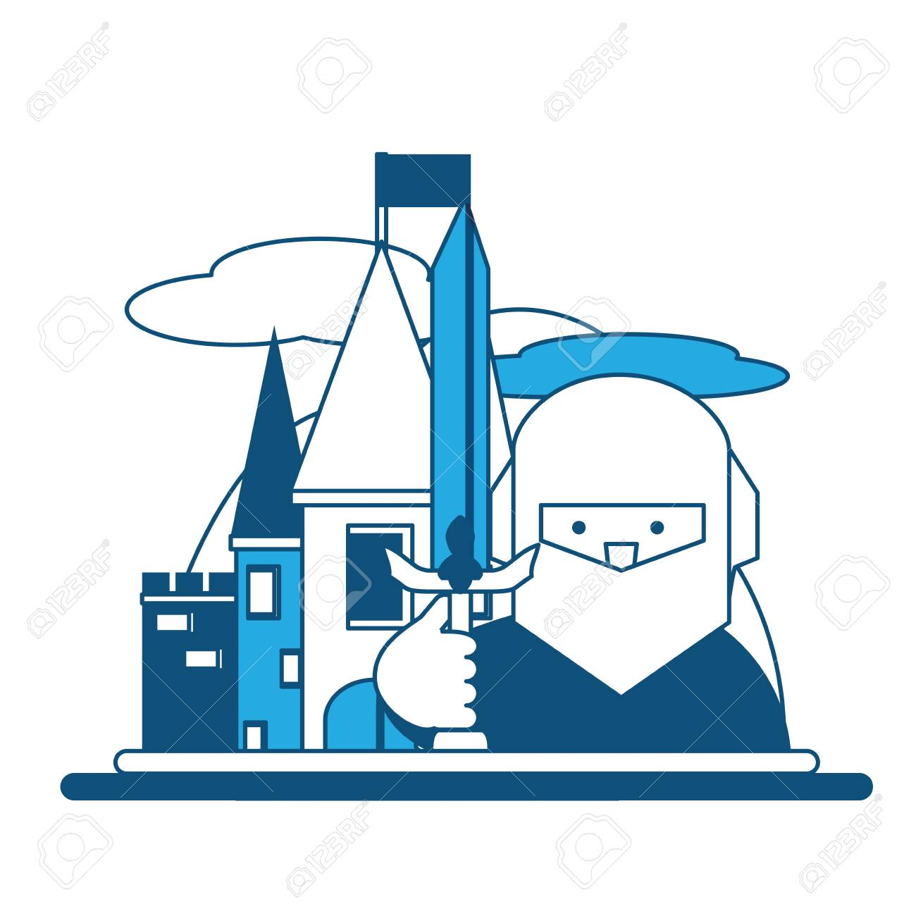 Medieval Citadel With Knight Icon Royalty Free Cliparts, Vectors ...