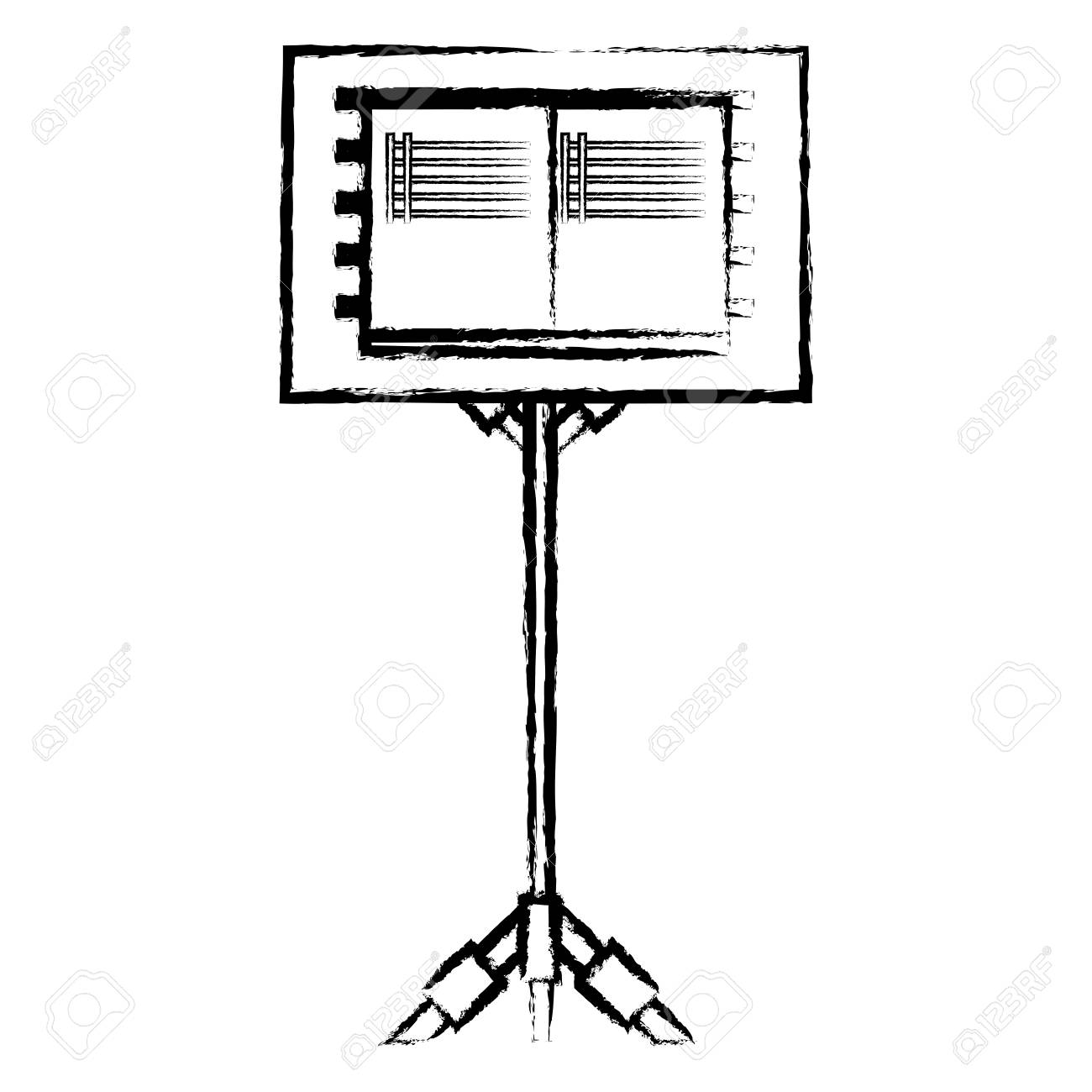 A Sketch Of Music Stand For Scores Icon Over White Background
