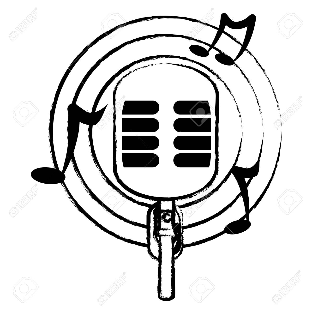Sketch Of Retro Microphone With Musical Notes Around Over White