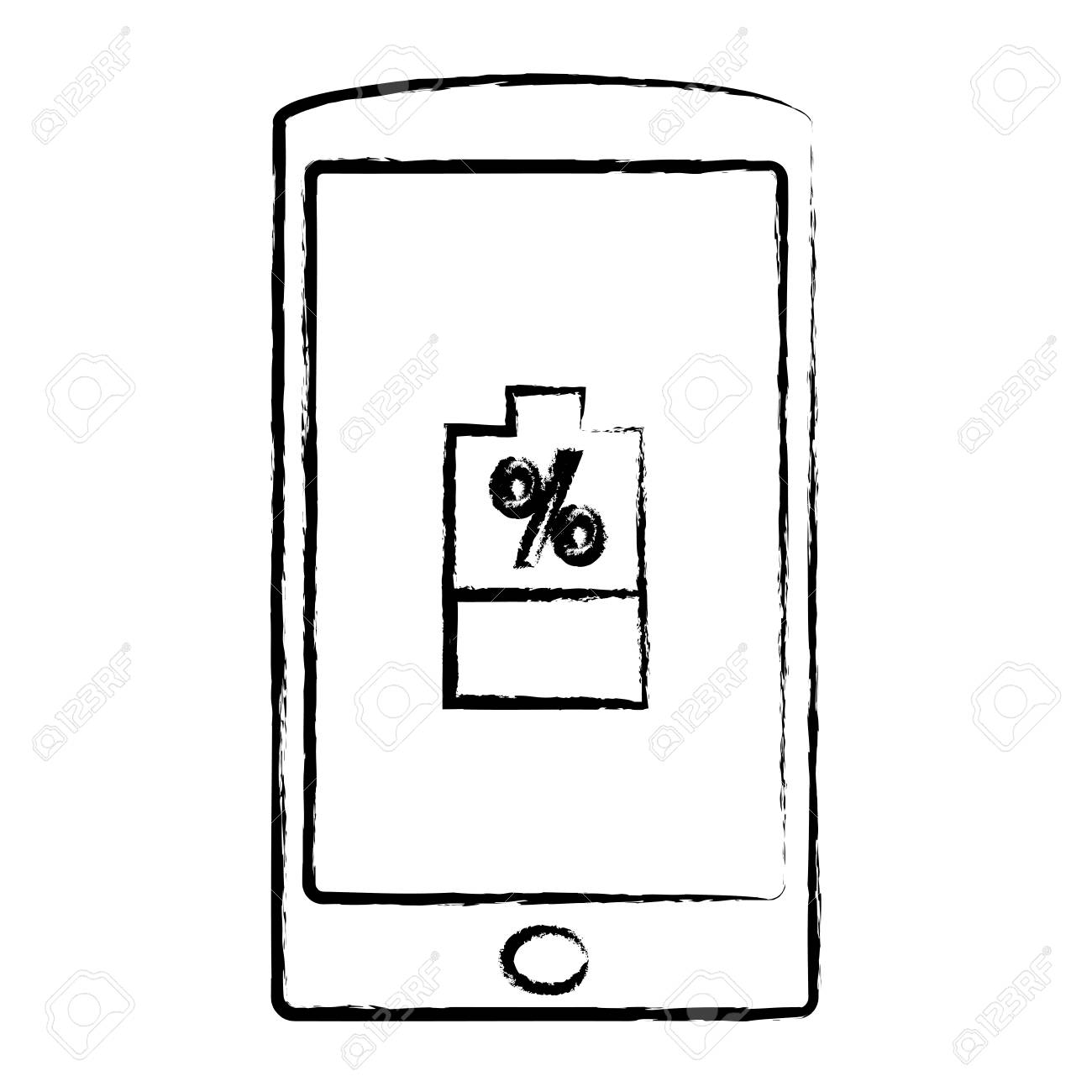 A Sketch Of Smartphone Device With Battery Percent Over White Royalty Free Cliparts Vectors And Stock Illustration Image 95003396