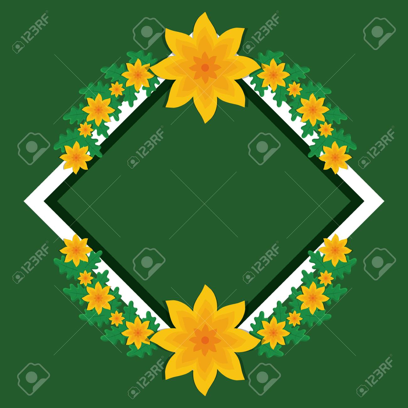 Decorative rhombus frame with tropical yellow flowers and leaves decorative rhombus frame with tropical yellow flowers and leaves over green background vector illustration mightylinksfo