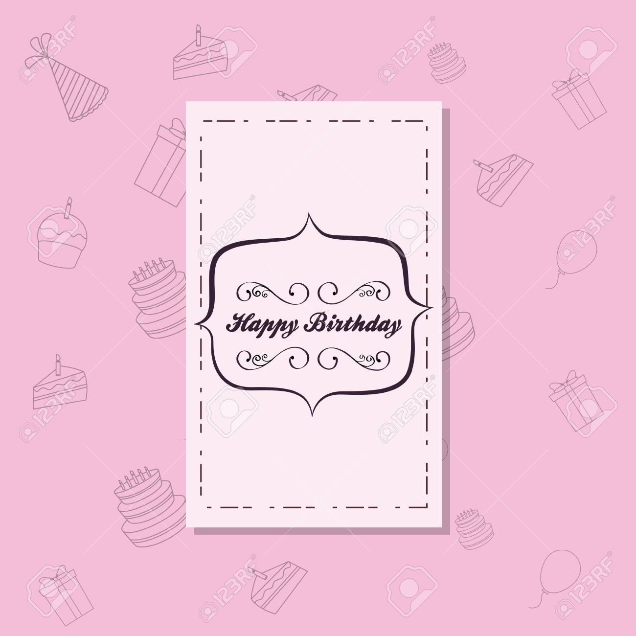 Happy Birthday Invitation Card With Decorative Frame Over Pink