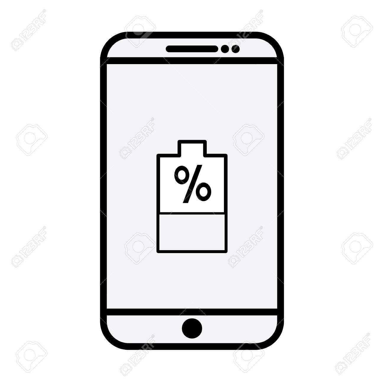 Smartphone Device With Battery Percentage Icon On Screen Illustration Royalty Free Cliparts Vectors And Stock Illustration Image 95679624