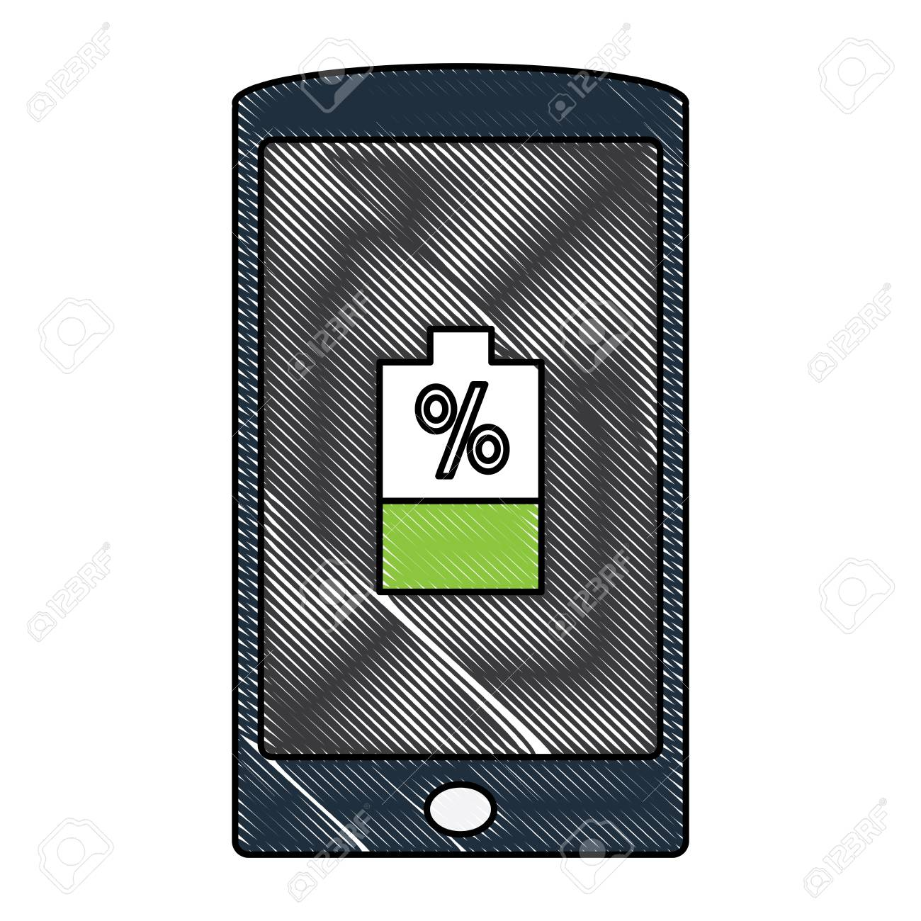 Smartphone Device With Battery Percent Over White Background Royalty Free Cliparts Vectors And Stock Illustration Image 95614762