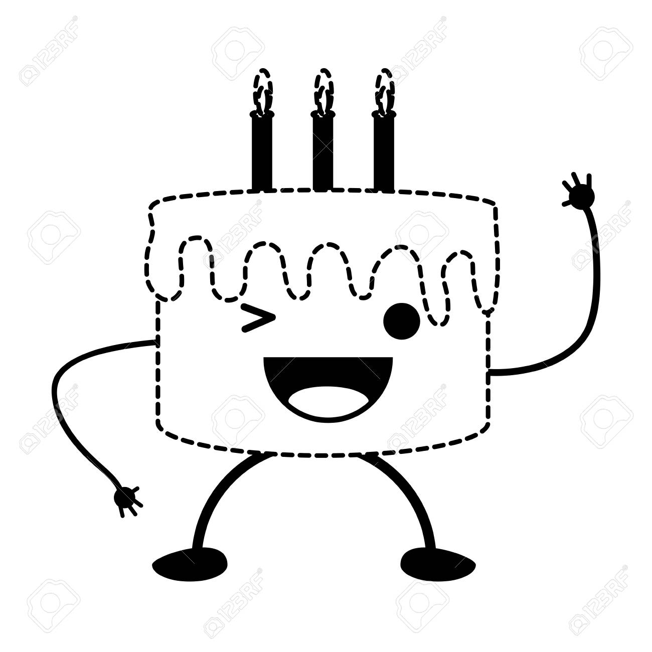 Kawaii Birthday Cake Icon Royalty Free Cliparts Vectors And Stock