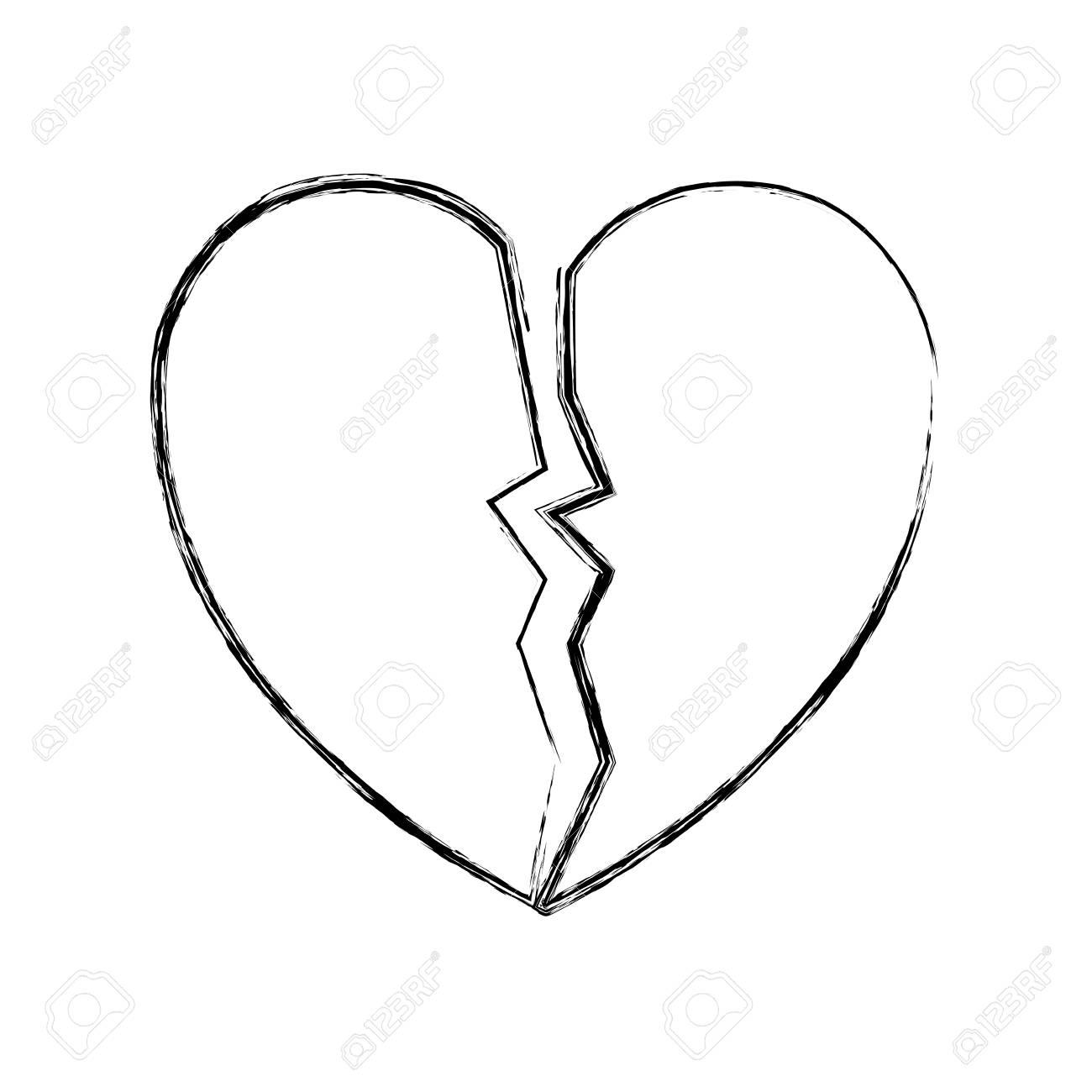 sketch of broken heart icon over white background vector illustration - 95855892