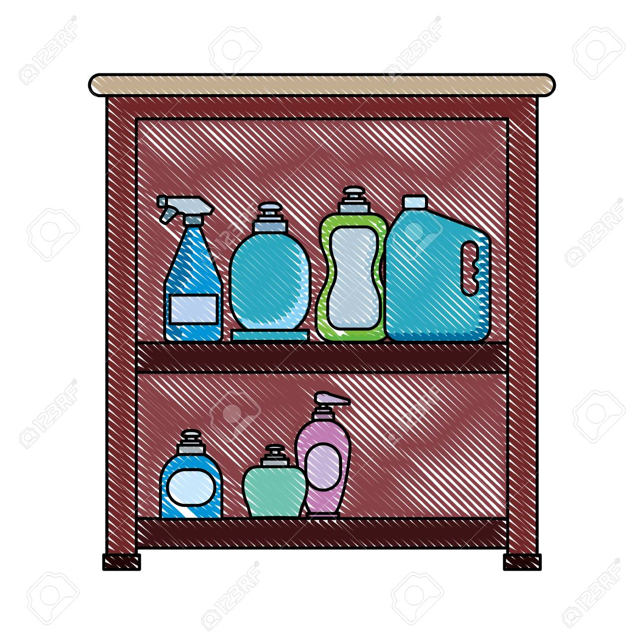 Cleaning Supplies Design In A Cabinet Royalty Free Cliparts