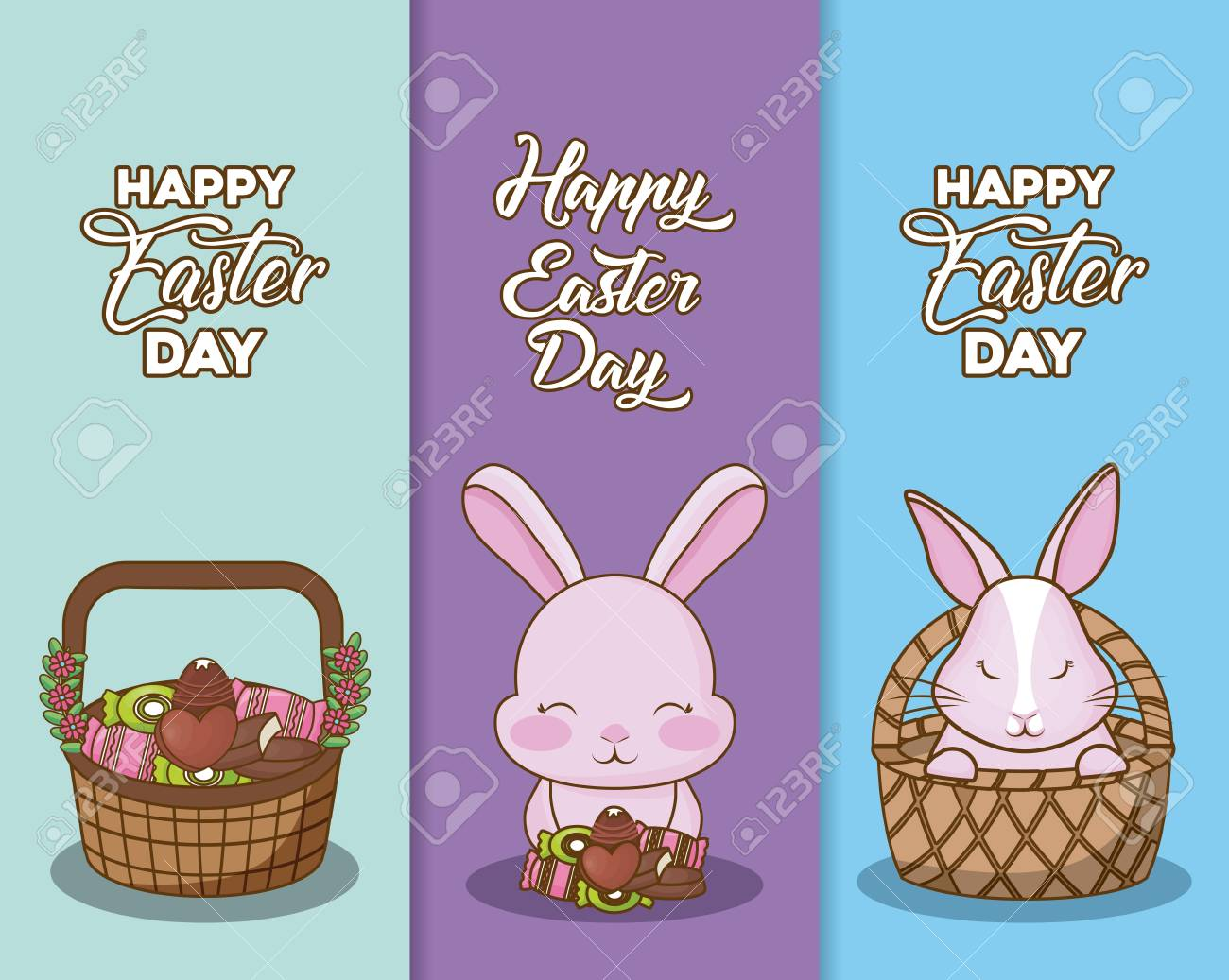 Happy Easter Day Cards Design With Basket With Cute Rabbit And