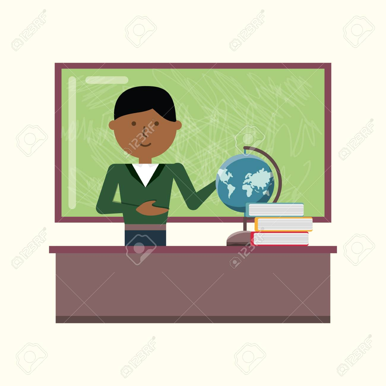 Cartoon School Teacher Standing At The Desk With Books And Geography