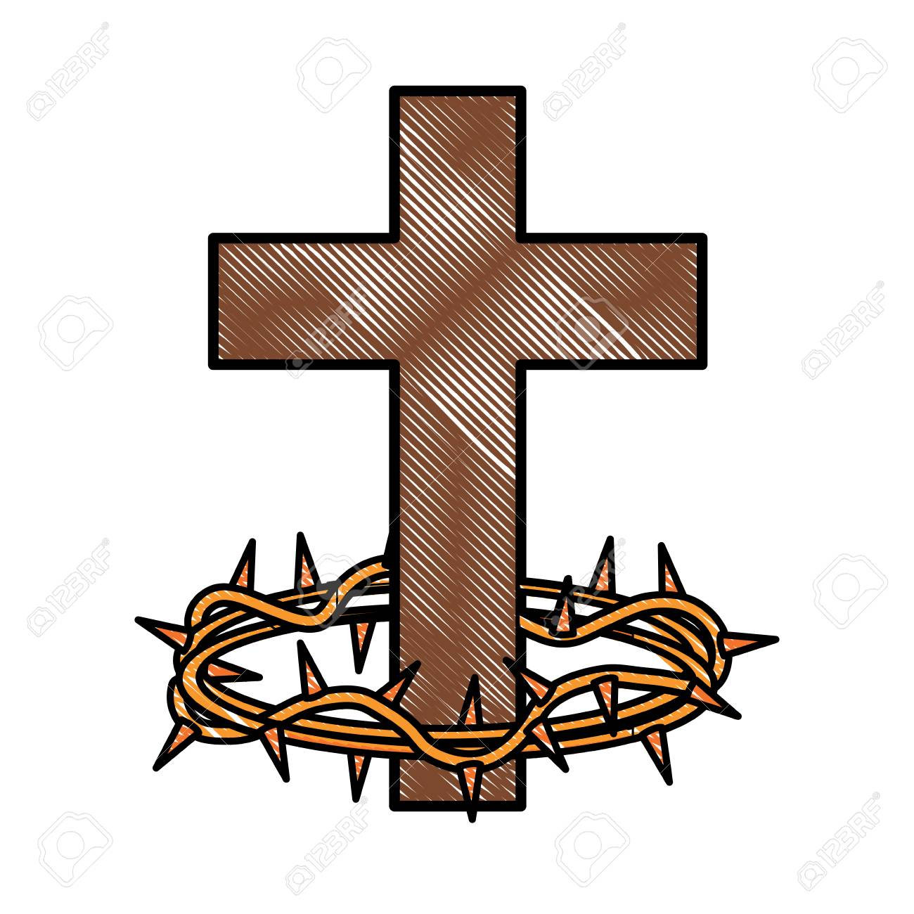 a catholic cross and crown of thorns icon over white background rh 123rf com