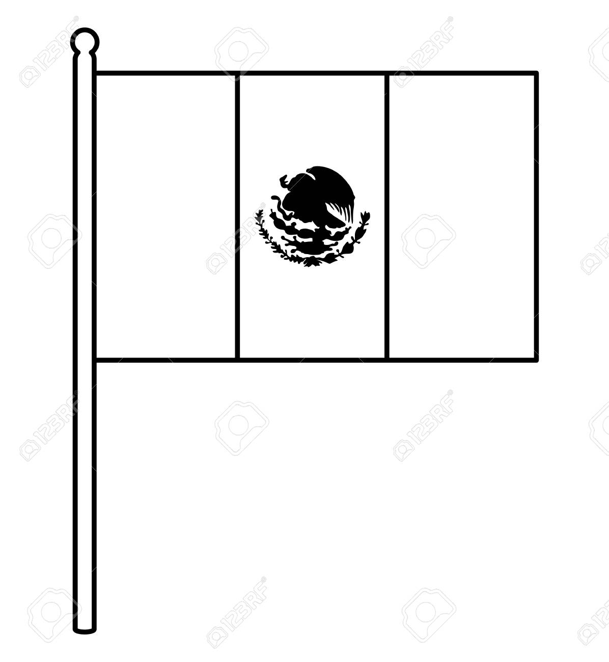Mexican Flag Icon Over White Background Vector Illustration