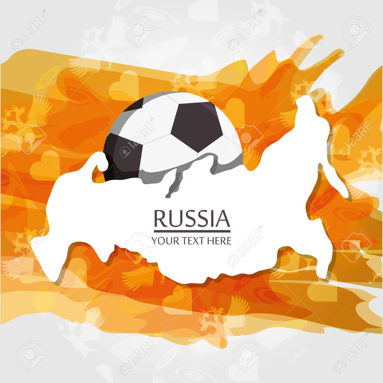 Russia design with russian map and soccer ball over orange and.. on korea map, china map, poland map, australia map, united kingdom map, france map, iraq map, soviet union map, europe map, africa map, italy map, asia map, saudi arabia map, romania map, india map, baltic map, canada map, japan map, eurasia map, germany map,