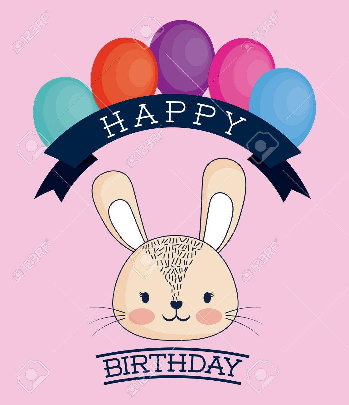 Happy Birthday Design With Cute Bunny Icon And Decorative Balloons