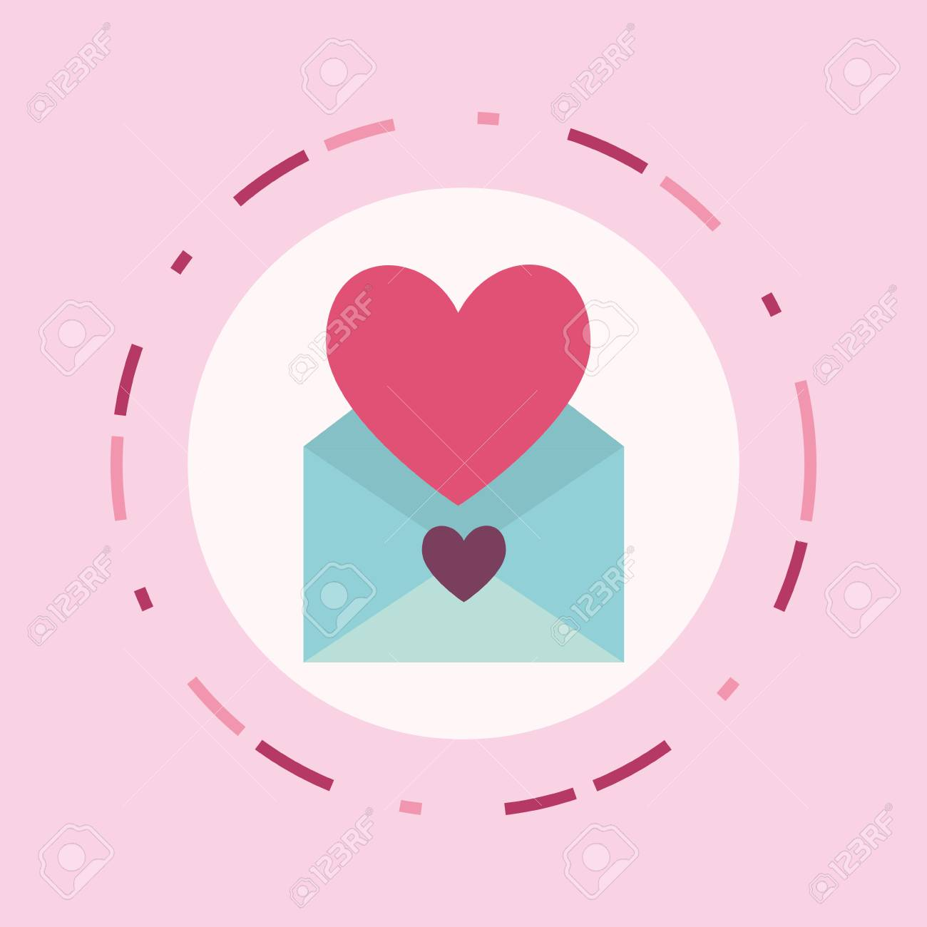 love letter design with envelope and heart icon over pink background colorful design vector
