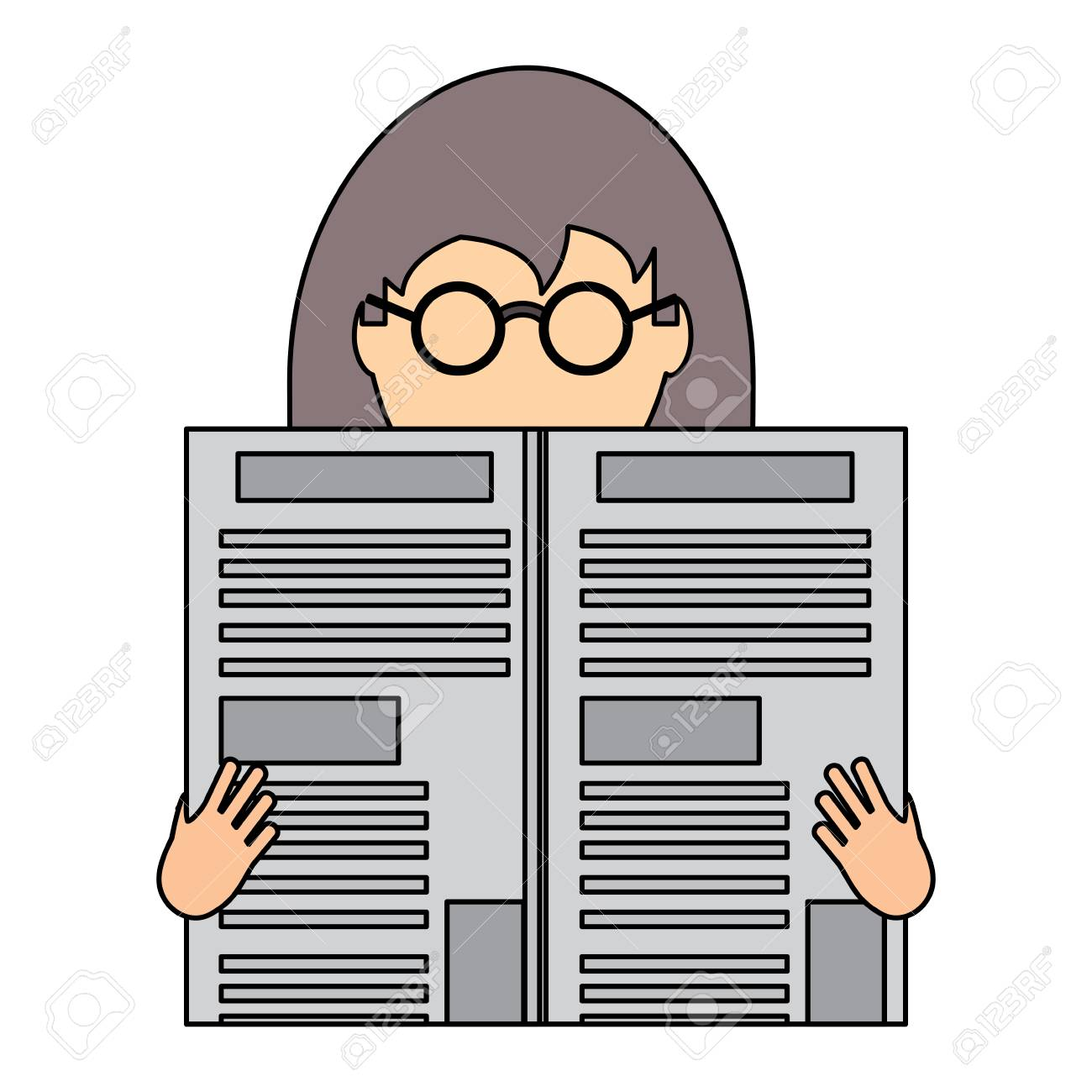 avatar woman with glasses reading a newspaper over white background