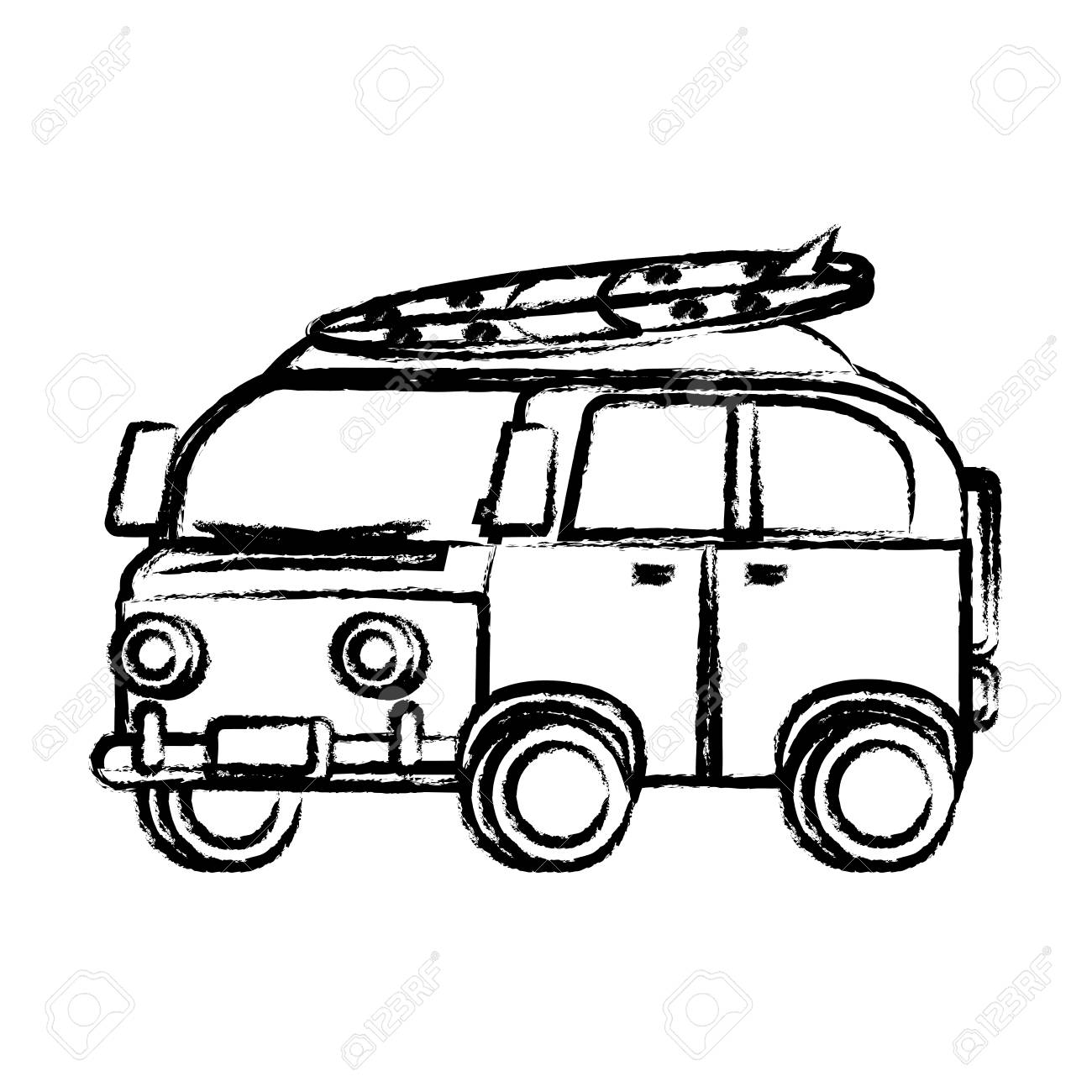 dfb96d4f0a Sketch Of Surf Van Icon Over White Background