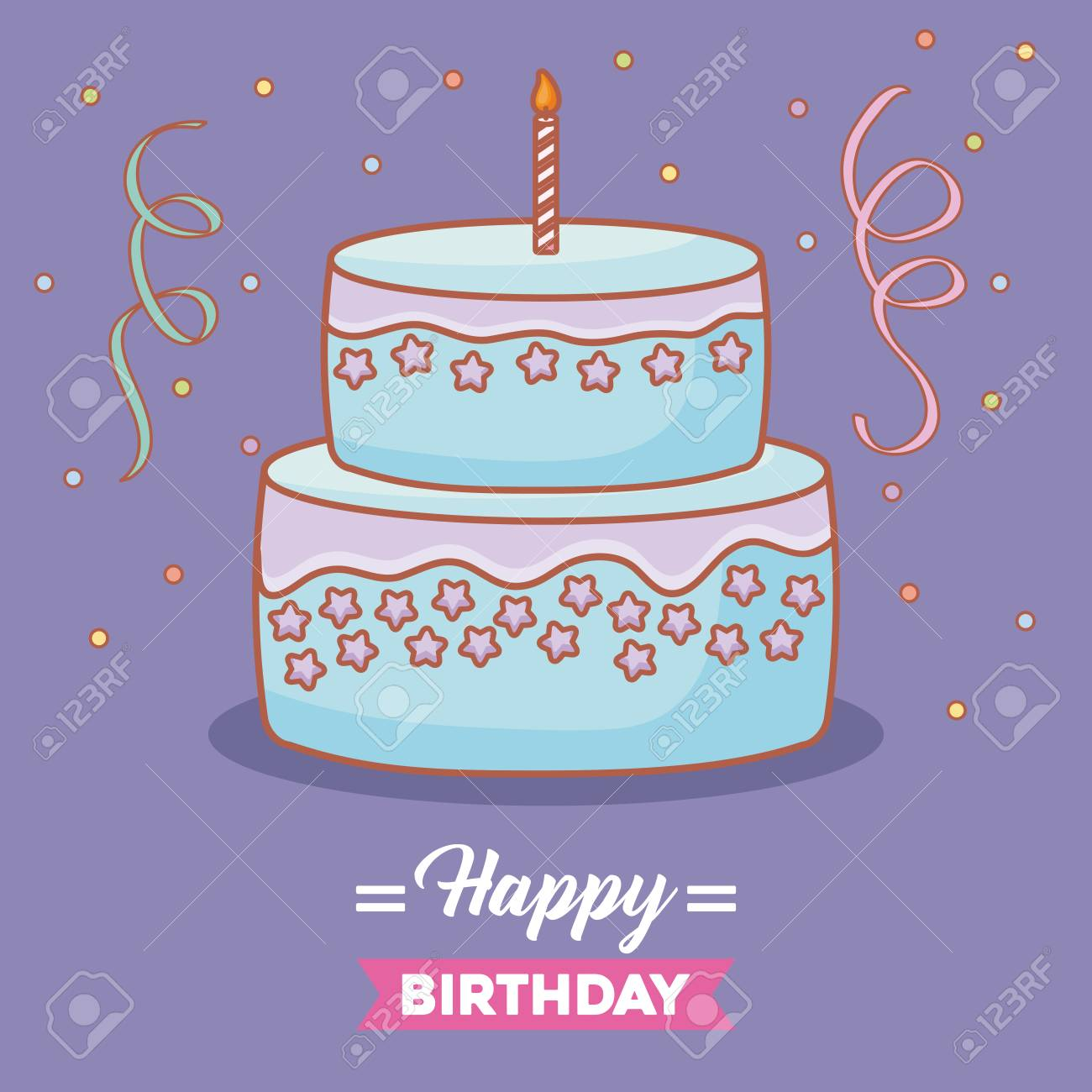 Happy Birthday Card With Birthday Cake With Candles Over Purple