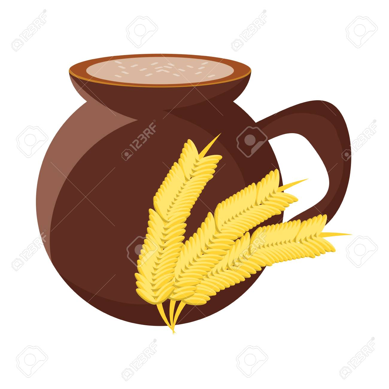 mexican atole drink, pot and wheat ears icon over white background, vector illustration - 99257440