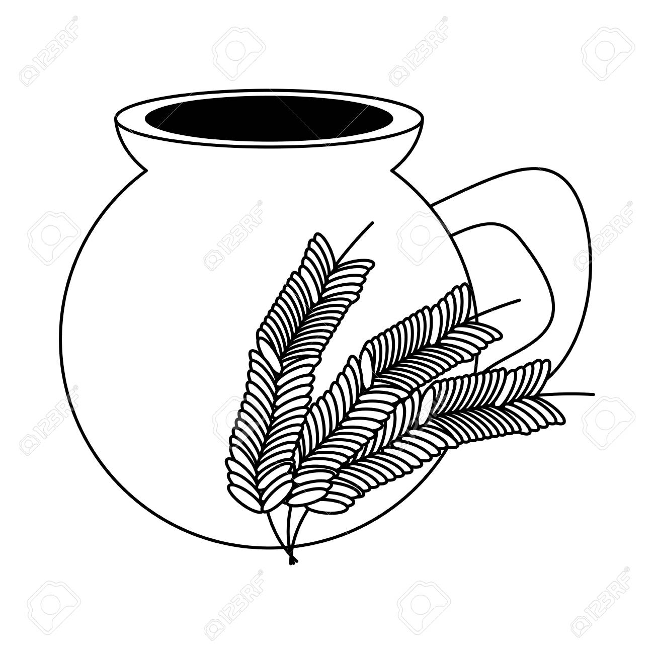Mexican atole drink, pot and wheat ears icon over white background, vector illustration. - 99256371