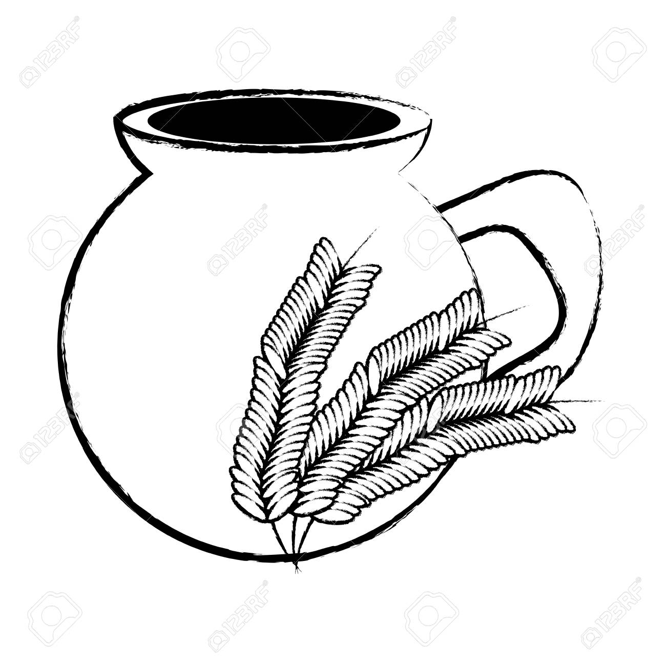 mexican atole drink, pot and wheat ears icon over white background, vector illustration - 99257129