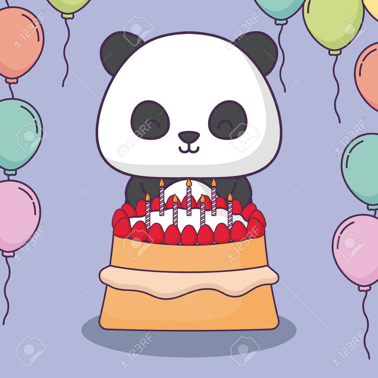 Cute Panda Bear With Birthday Cake And Decorative Balloons Over