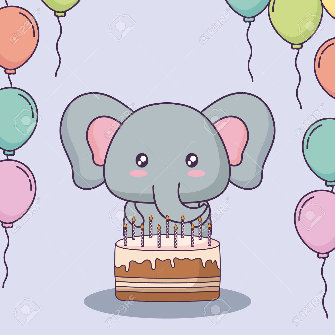 Sensational Cute Elephant With Birthday Cake And Decorative Balloons Over Funny Birthday Cards Online Overcheapnameinfo