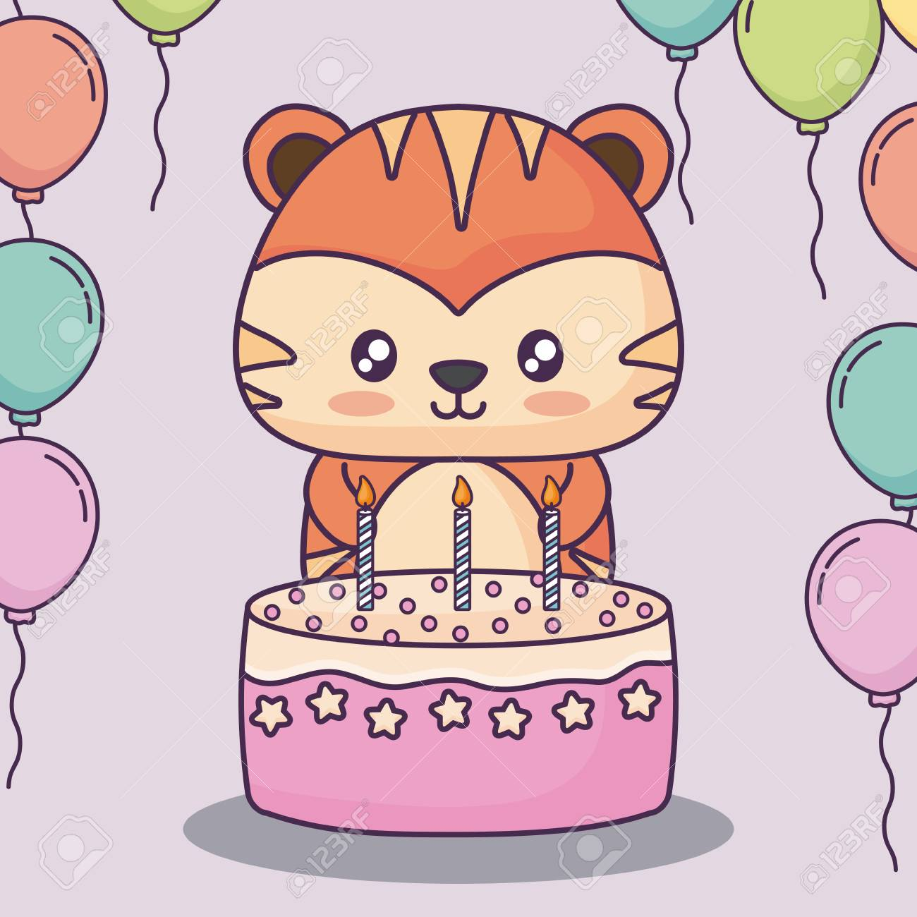 Outstanding Cute Tiger With Birthday Cake And Decorative Balloons Over Pink Personalised Birthday Cards Paralily Jamesorg