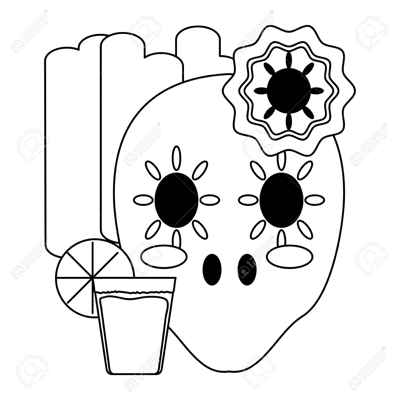 Flag Of Mexico With Sugar Skull And Tequila Shot Icon Over White