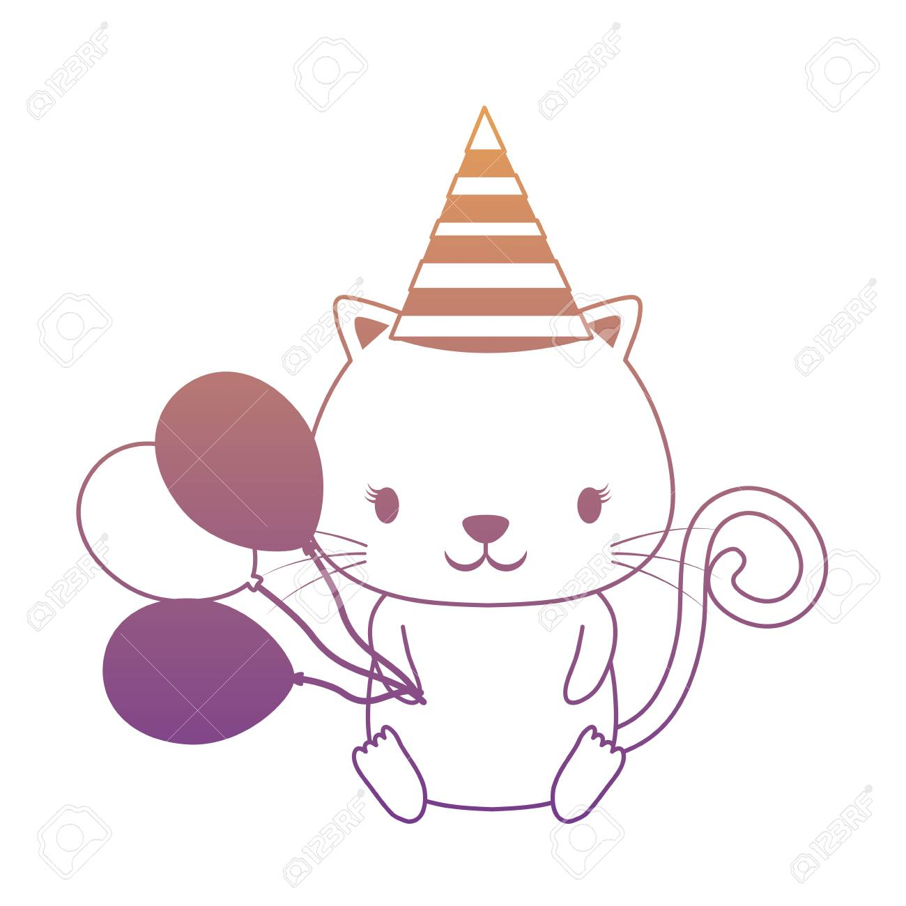 Happy Birthday Design With Cute Cat Hat And Balloons Over White Background Colorful