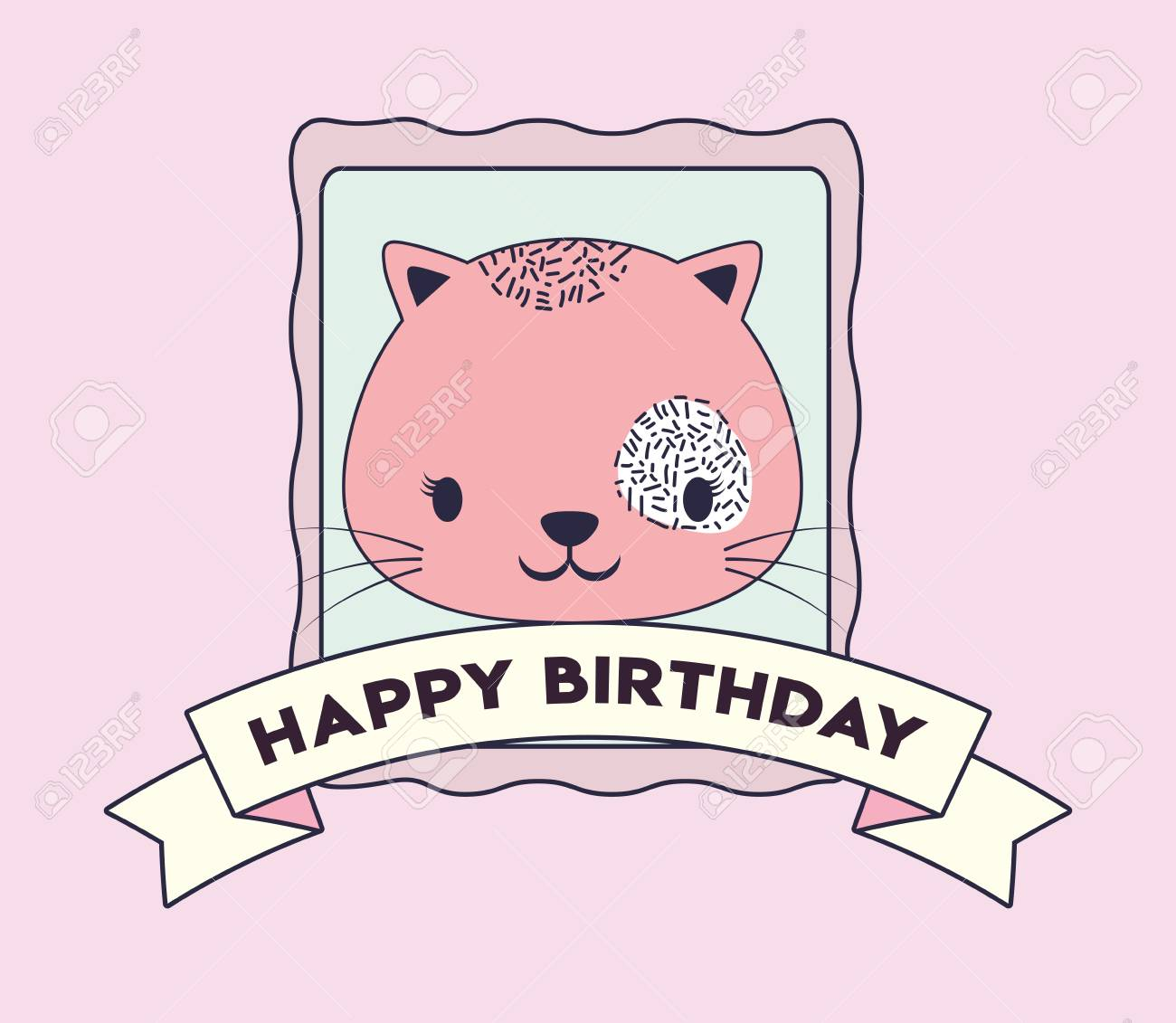 Happy Birthday Design With Cute Cat Icon And Decorative Ribbon