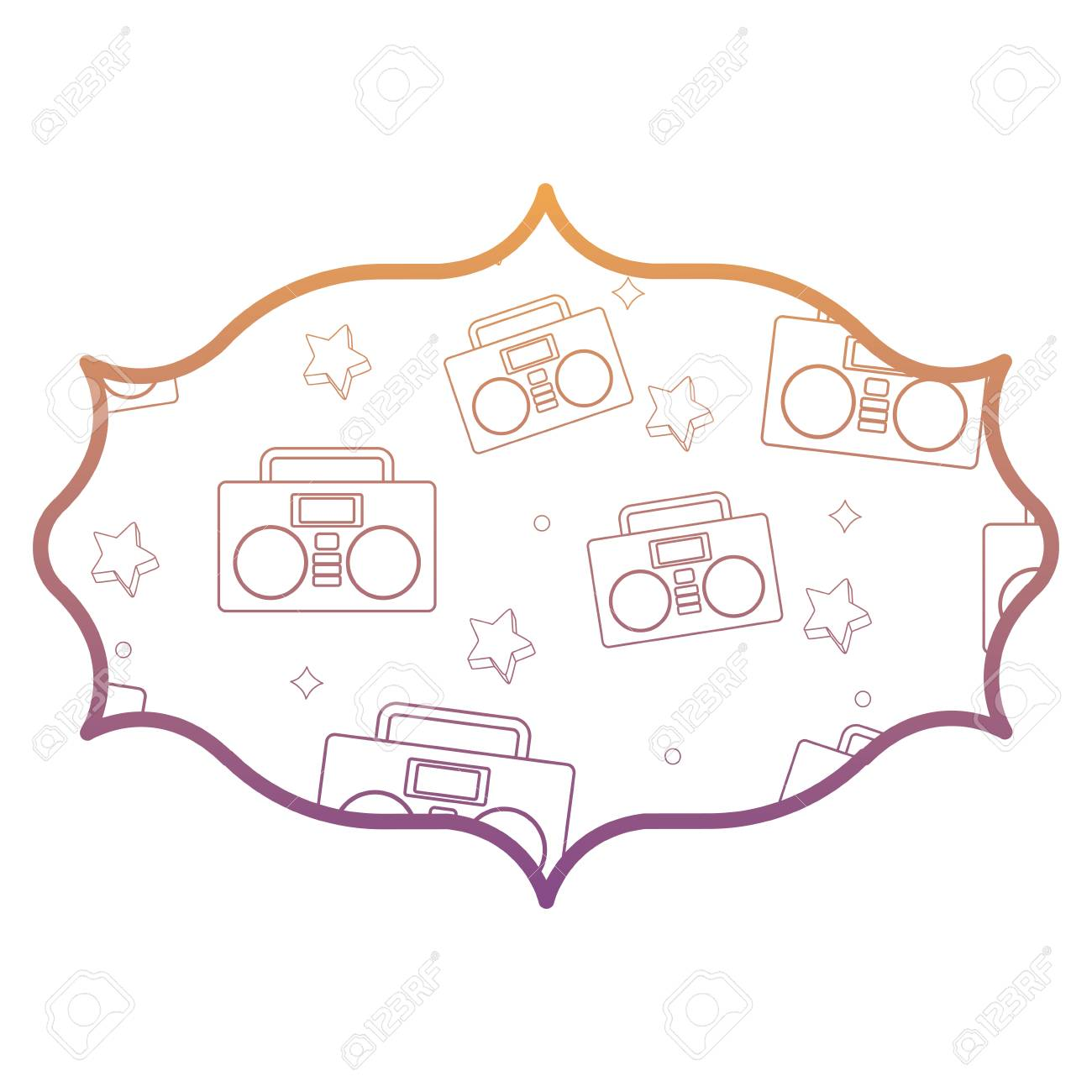 Arabic Frame With Boombox Stereo And Stars Pattern Over White. Arabic Frame With Boombox Stereo And Stars Pattern Over White Background Vector Illustration Stock. Wiring. A Diagram Of A House Arabic At Scoala.co