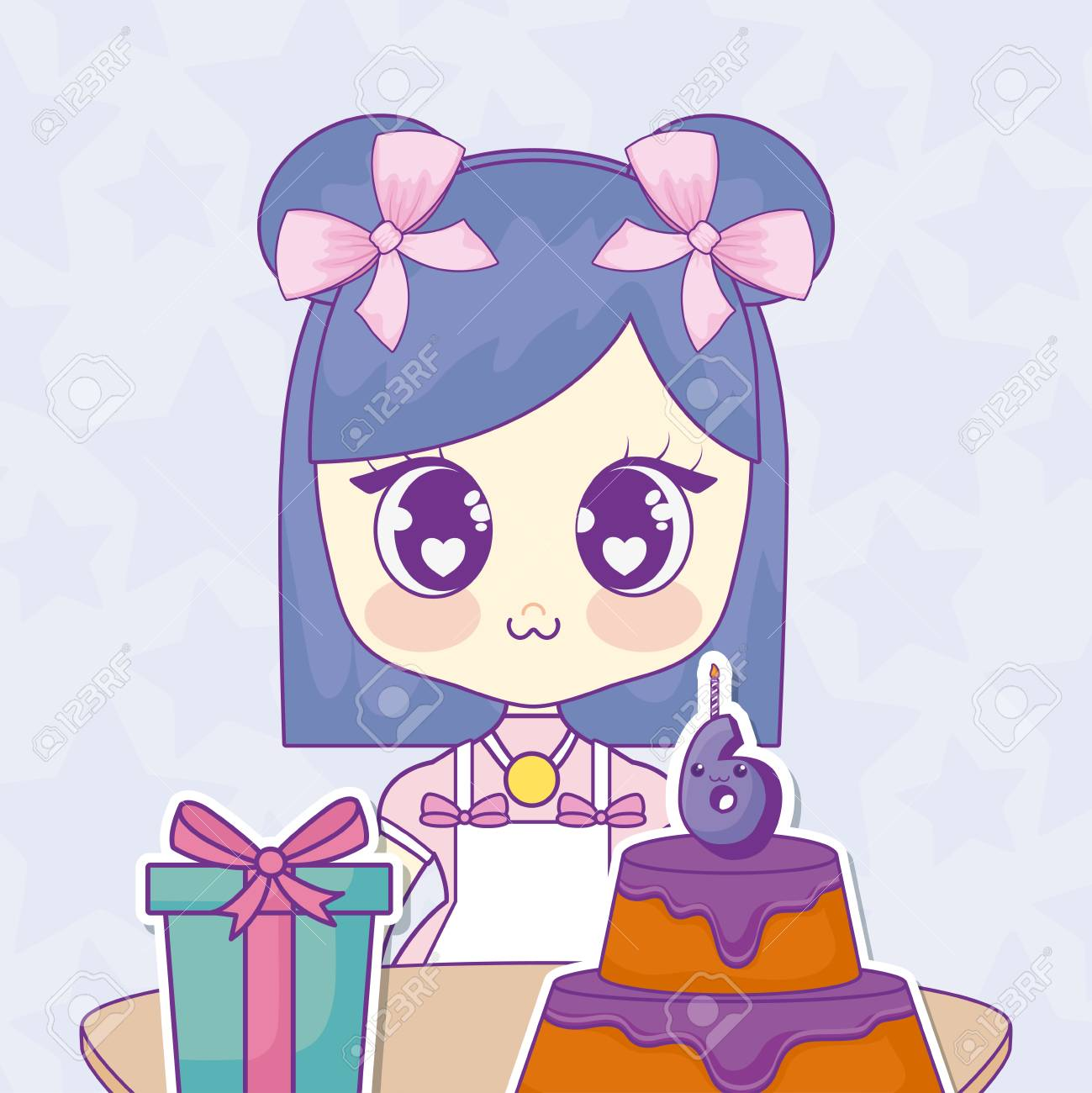 Happy Birthday Design With Anime Girl With Birthday Cake And
