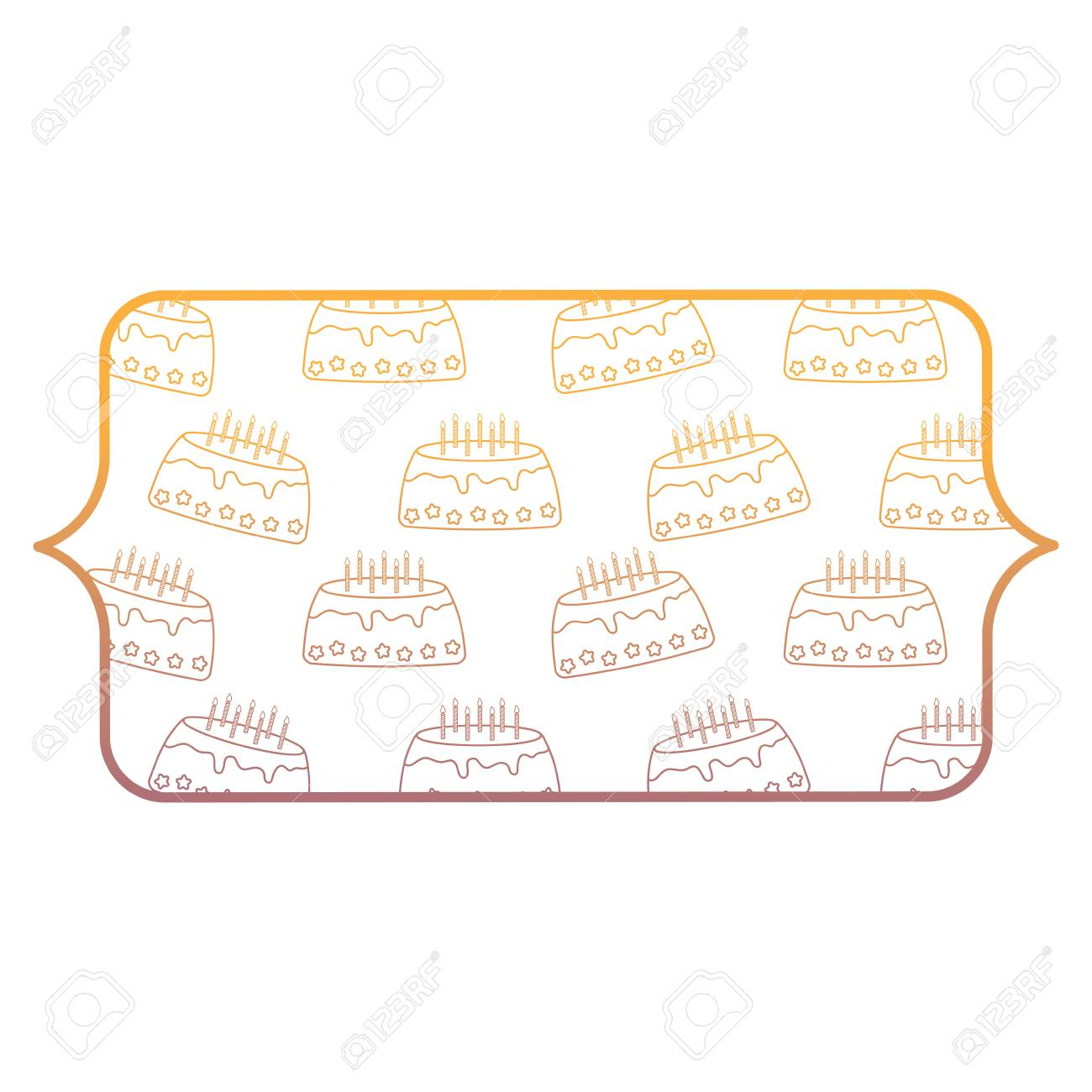 Banner With Birthday Cake Pattern Over White Background Vector Illustration Stock