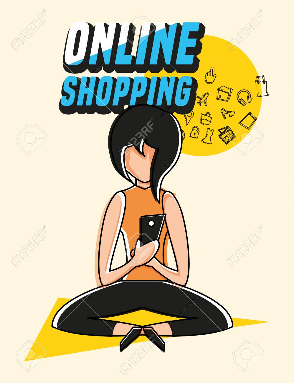 Woman Avatar With Online Shopping Icon Pop Art Style Vector Illustration Royalty Free Cliparts Vectors And Stock Illustration Image 102848693