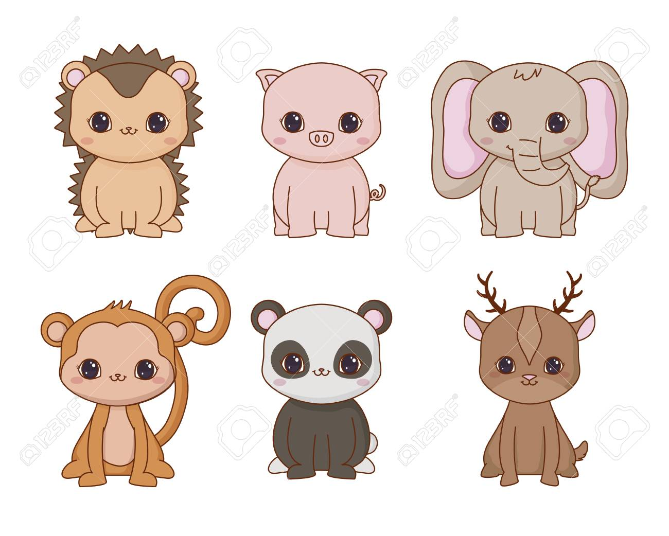 Image of: Png Icon Set Of Kawaii Animals Over White Background Colorful Design Vector Illustration Stock Vector 123rfcom Icon Set Of Kawaii Animals Over White Background Colorful Design