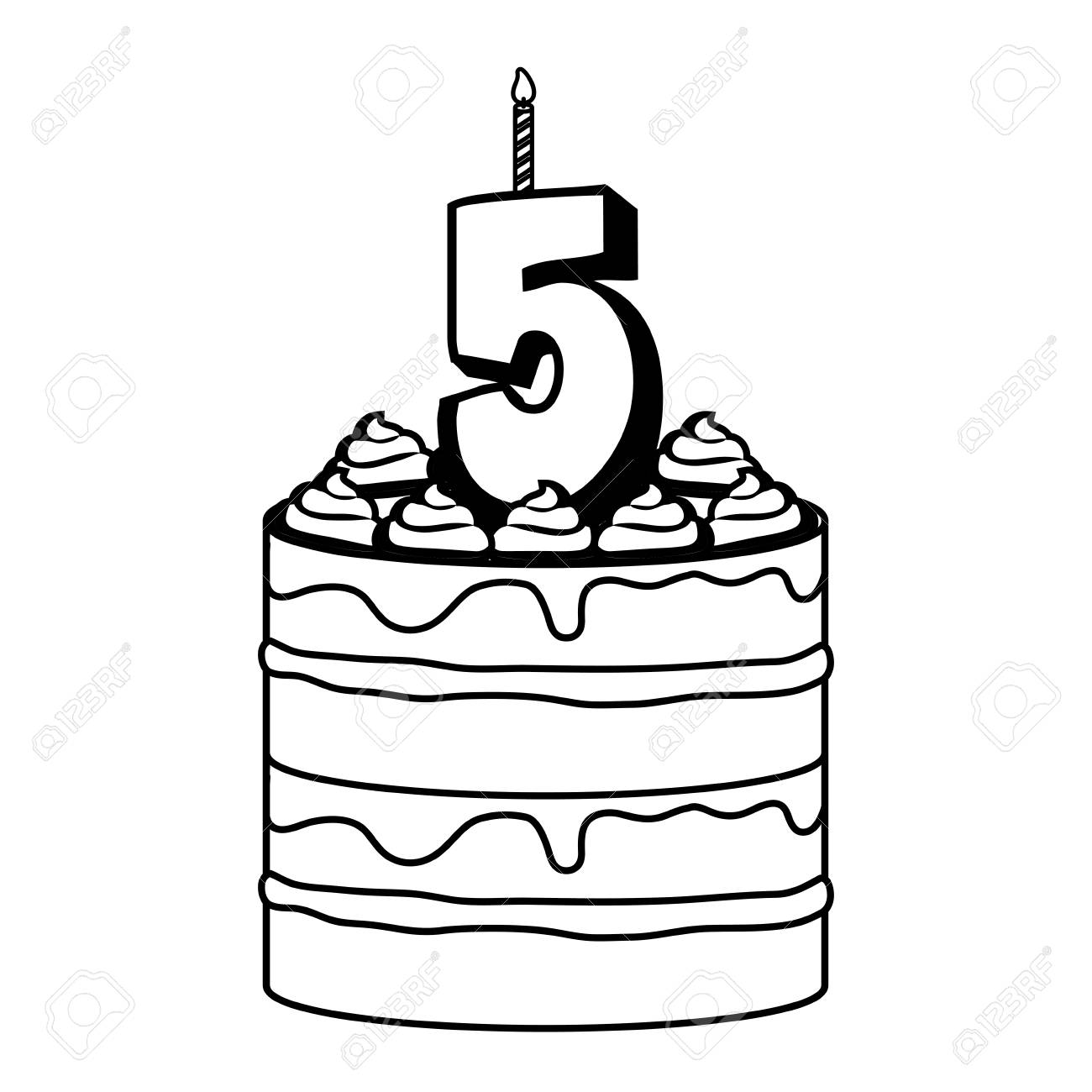 Awesome Birthday Cake With Number Five Candle Icon Over White Background Personalised Birthday Cards Akebfashionlily Jamesorg