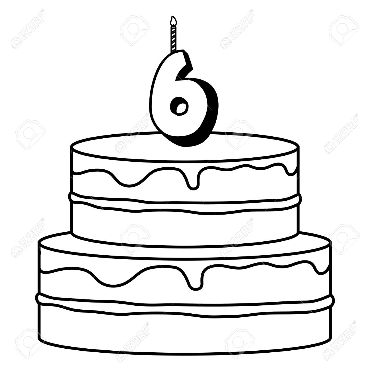 Birthday Cake With Number Six Candle Over White Background Vector