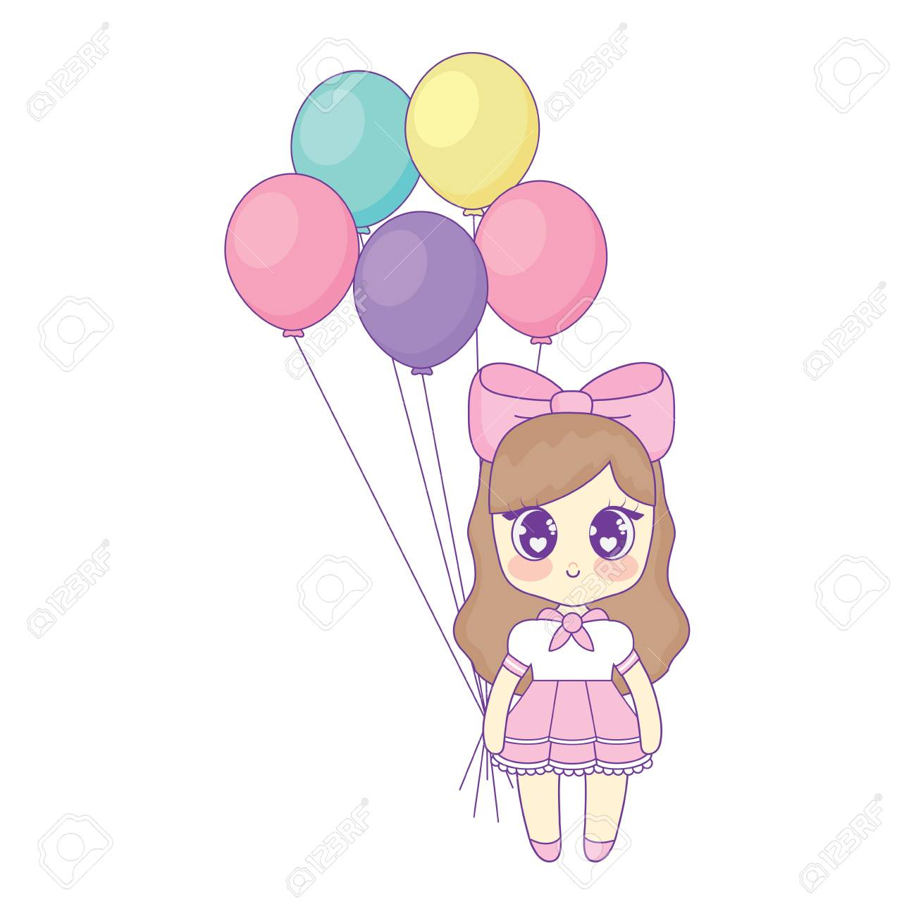 Happy Birthday Design With Anime Girl With Balloons Over White