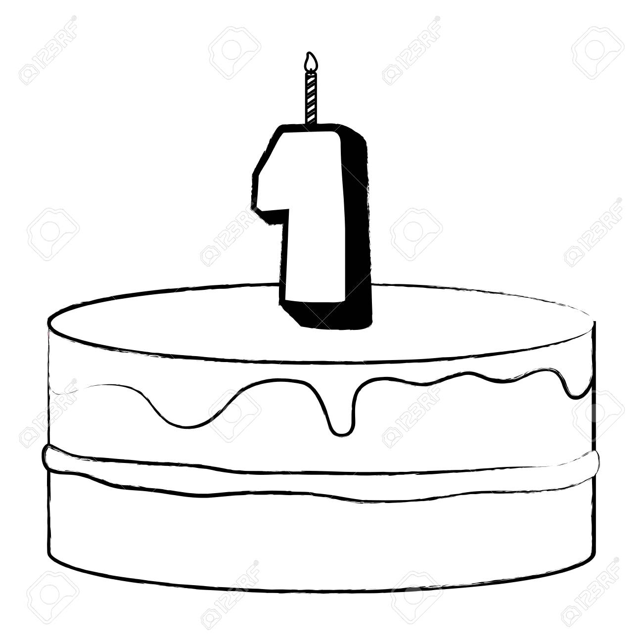 Birthday Candle With Number One Vector Illustration Design Royalty Free  Cliparts, Vectors, And Stock Illustration. Image 99730130.