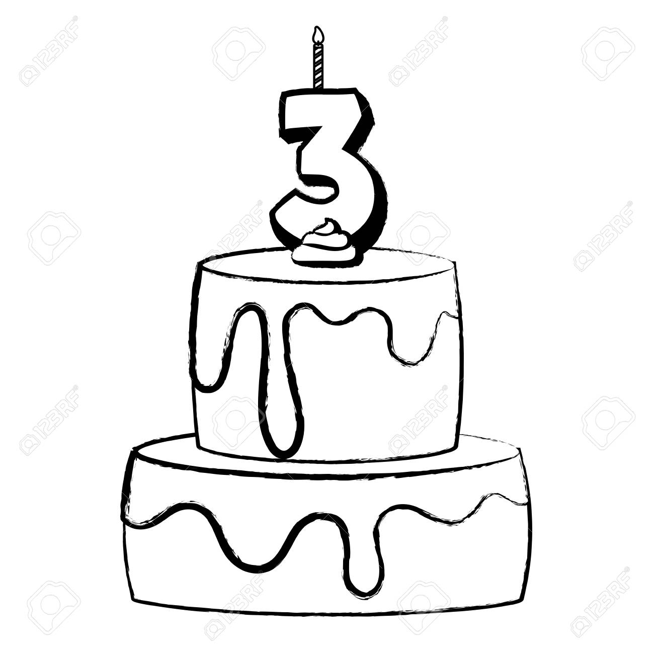 Cool Birthday Cake With Number Three Candle Icon Over White Background Personalised Birthday Cards Akebfashionlily Jamesorg