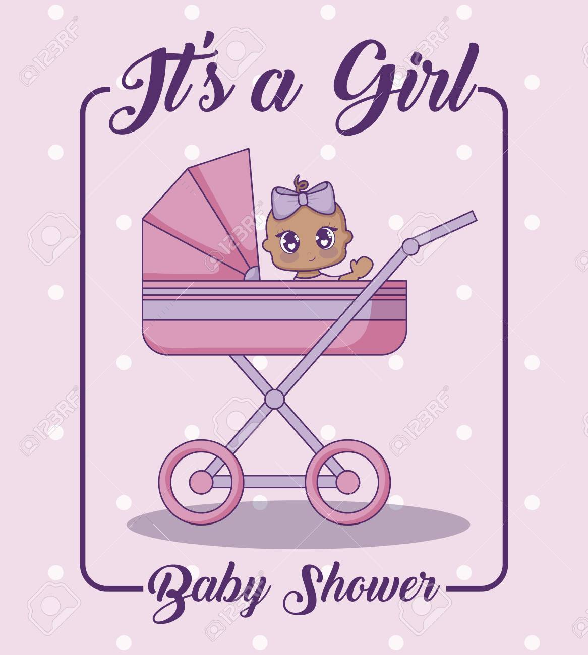 Its A Girl Baby Shower Concept With Cute Baby Girl In A Baby Royalty Free Cliparts Vectors And Stock Illustration Image 111995488