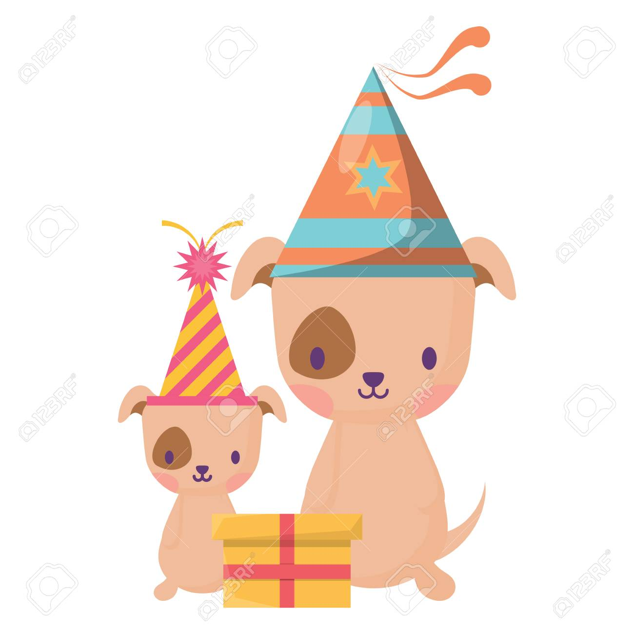 Happy Birthday Design With Cute Dogs Party Hats Over White Background Vector Illustration Standard