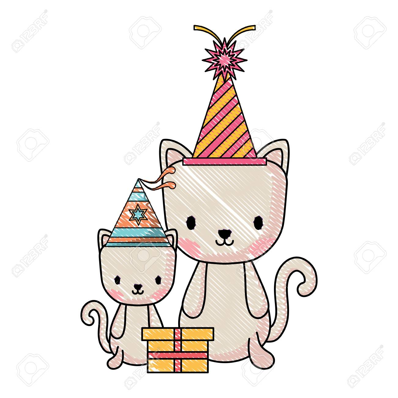 Happy Birthday Design With Cute Cats Party Hats Over White Background Vector Illustration Standard