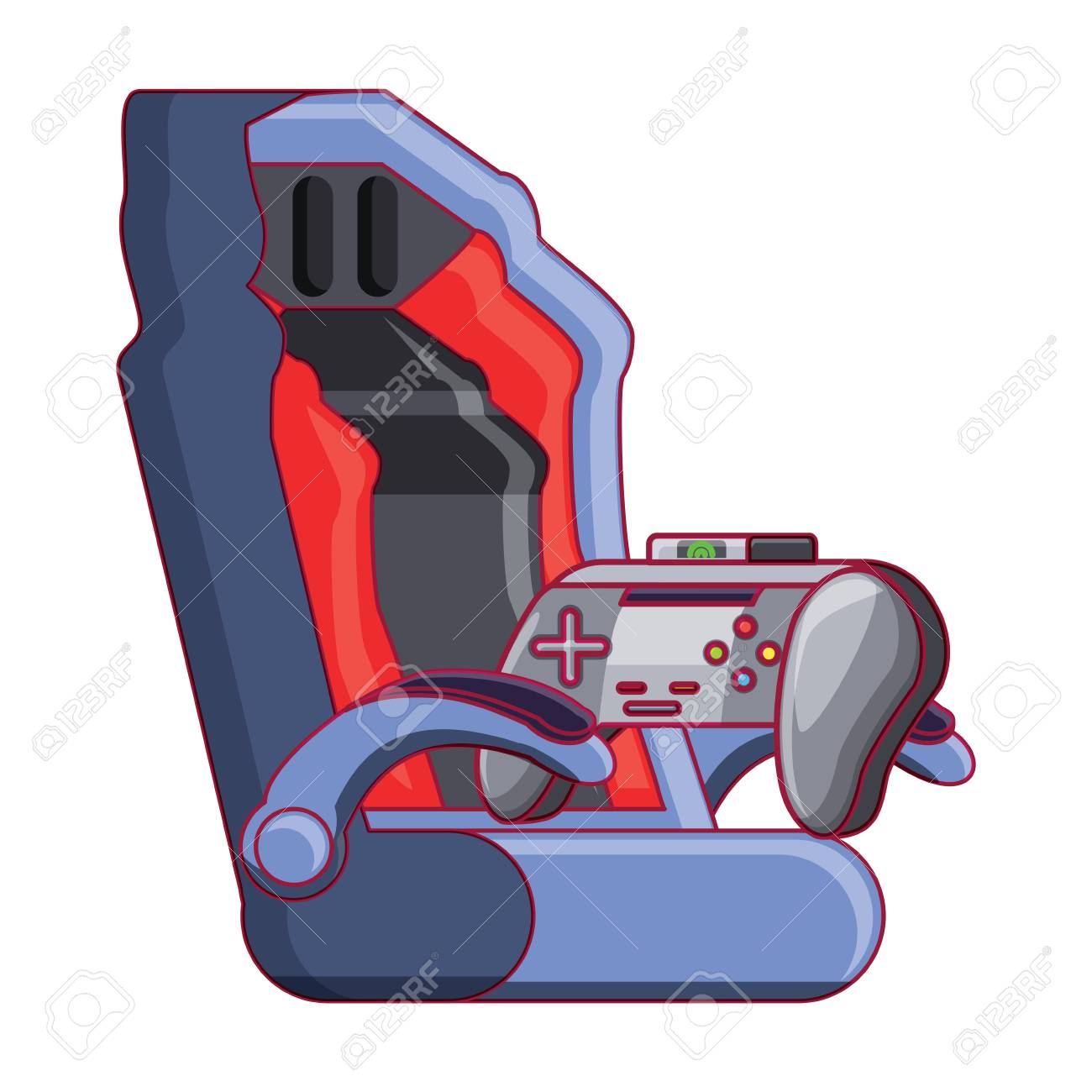 Remarkable Gaming Chair And Game Controller Icon Over White Background Forskolin Free Trial Chair Design Images Forskolin Free Trialorg
