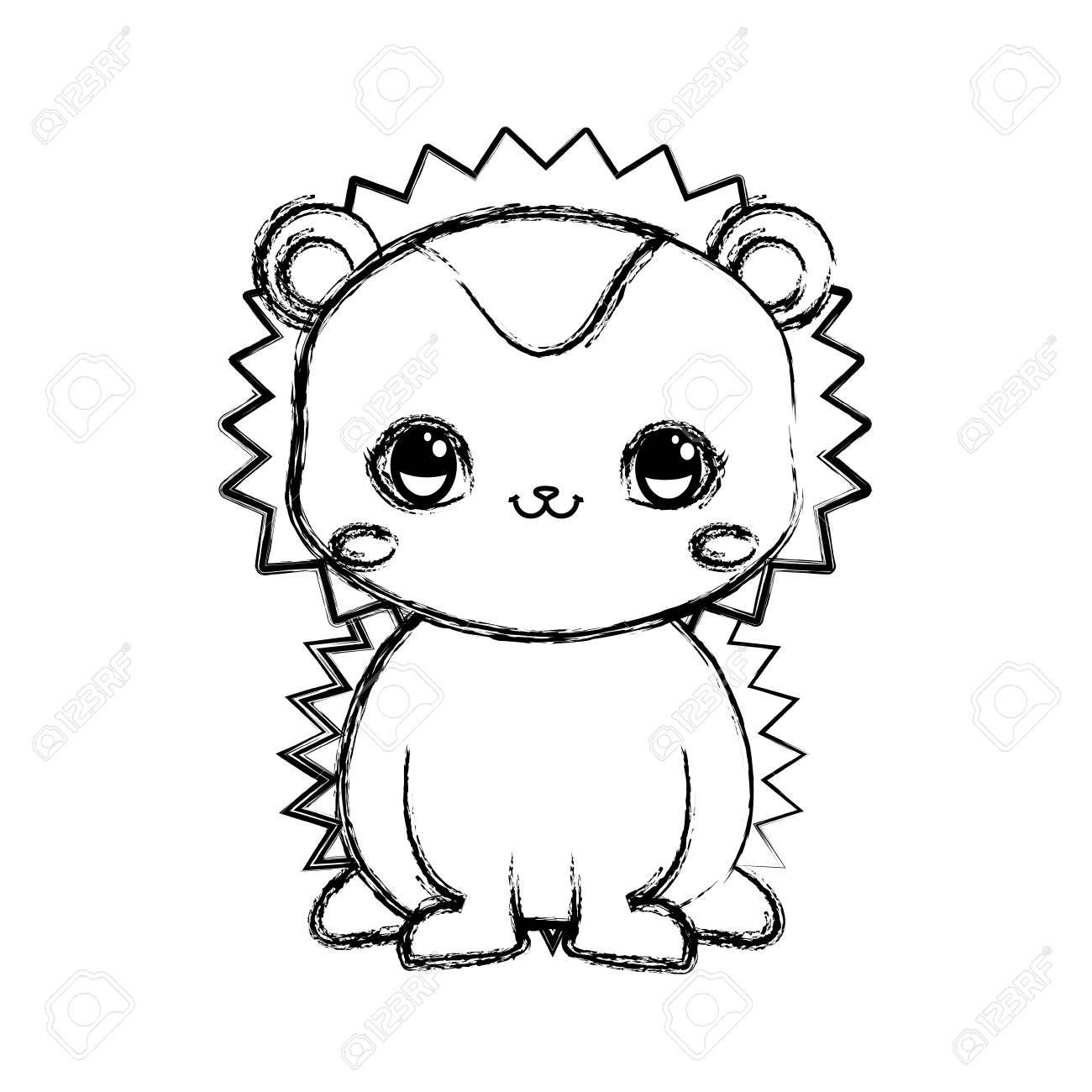 Cute Hedgehog Baby Sitting Cartoon Vector Illustration Hand Drawing