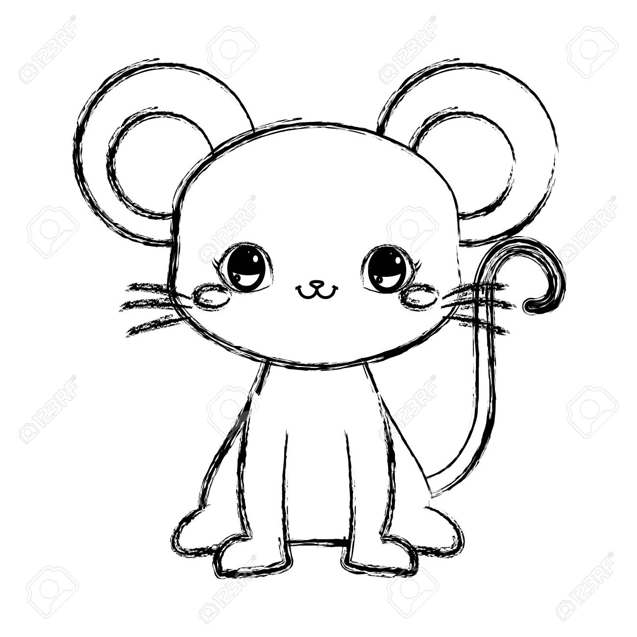 Cute Mouse Baby Sitting Cartoon Vector Illustration Hand Drawing ...