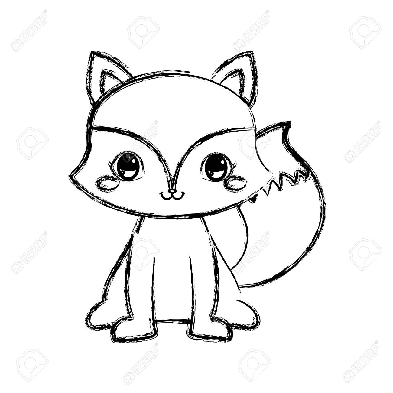 Cute Fox Cartoon Animal Wildlife Vector Illustration Hand Drawing Royalty Free Cliparts Vectors And Stock Illustration Image 109894513